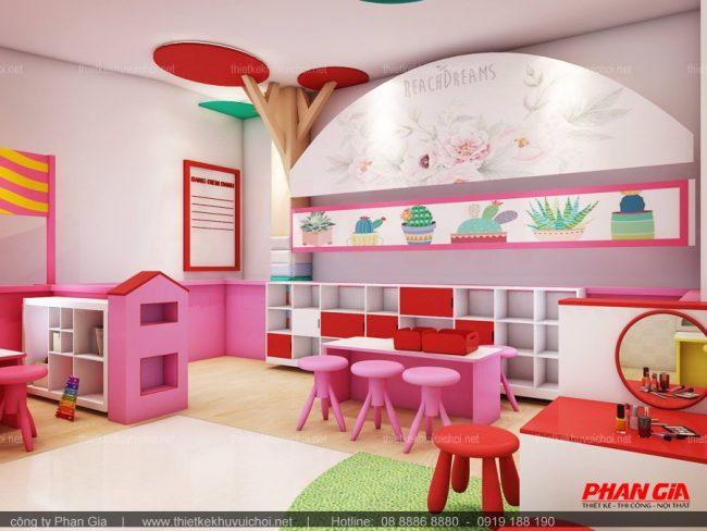 Phòng học được thiết kế khoa học với màu sắc bắt mắt, gần gủi với trẻ em.