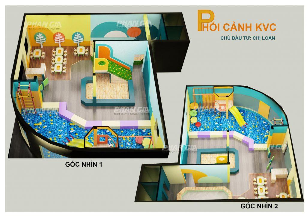 Hình 3D khu vui chơi trẻ em Zoo Coffee