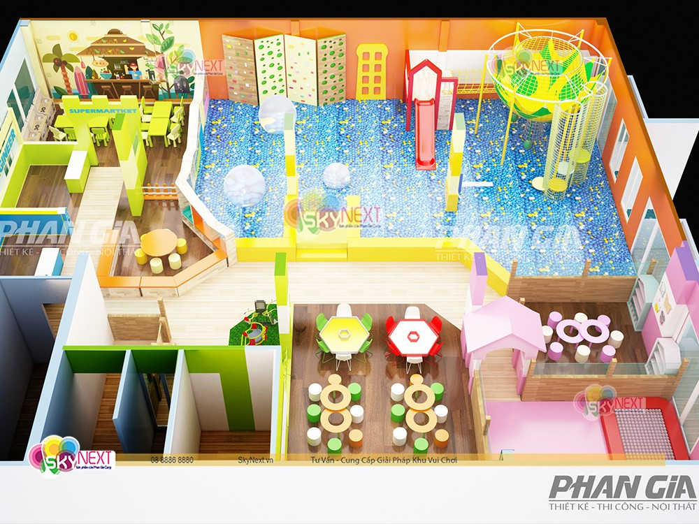 Phối cảnh 3D khu vui chơi cho trẻ em ở nông thôn