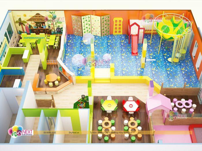 Phối cảnh 3D khu vui chơi Papa4Me cho trẻ em trong nhà